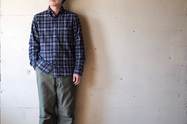 WORKERS Modified BD Shirt Brushed Indigo Check-2