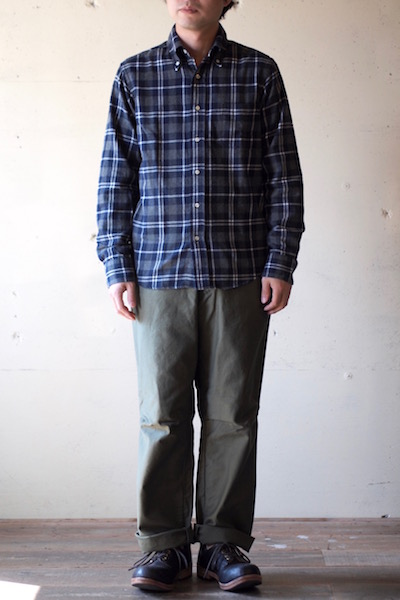 WORKERS Modified BD Shirt Brushed Indigo Check-3