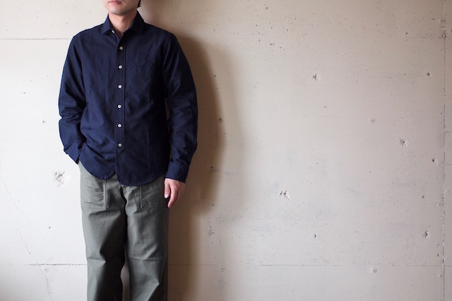 WORKERS Narrow Round Collar Shirt D-OX Navy-2
