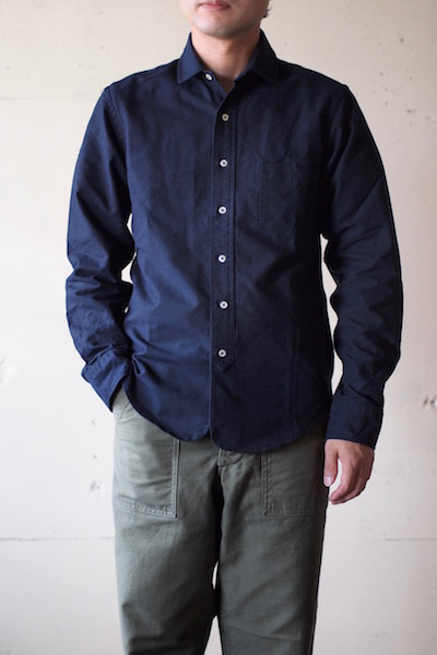WORKERS Narrow Round Collar Shirt D-OX Navy-3