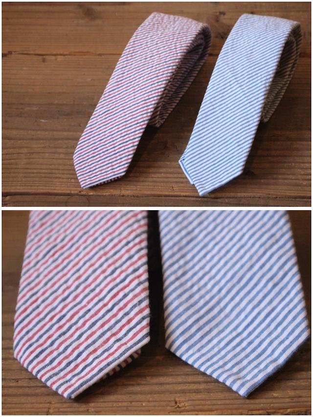 WORKERS Narrow Tie-Cotton Linen Seersucker