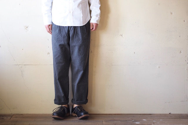 Workers Officer Trousers 2-Tac Wide Straight Black Chambray-2