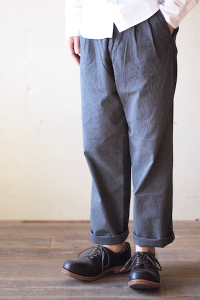Workers Officer Trousers 2-Tac Wide Straight Black Chambray-3