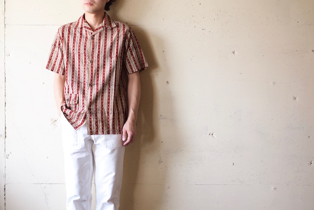 WORKERS Open Collar Shirt Block Print-2