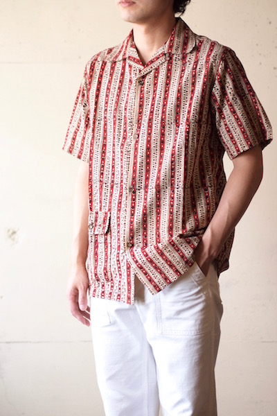 WORKERS Open Collar Shirt Block Print-3