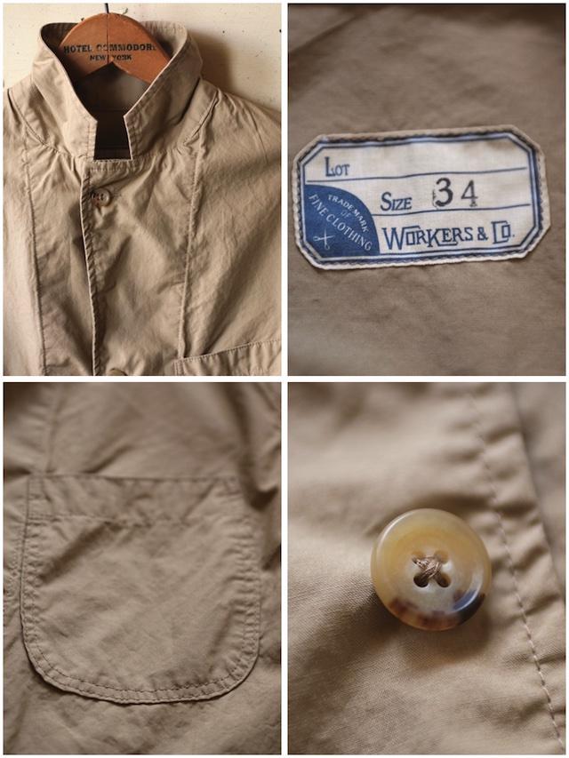 WORKERS Sack Coat Supima Cotton Poplin Beige-7