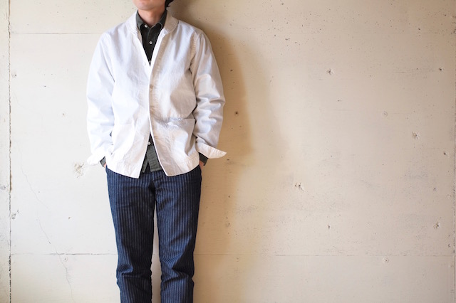 WORKERS Shawl Collar JKT 8oz Chambray White-2