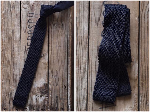 WORKERS Silk Knit Tie Charcoal Grey, Dark Navy-4
