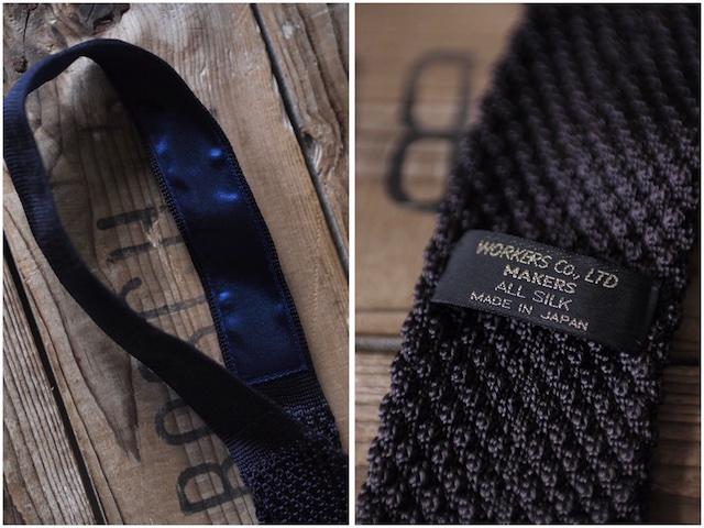 WORKERS Silk Knit Tie Charcoal Grey, Dark Navy-5
