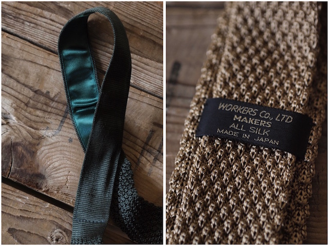 WORKERS Silk Knit Tie Gold/Forest/Midnight-5