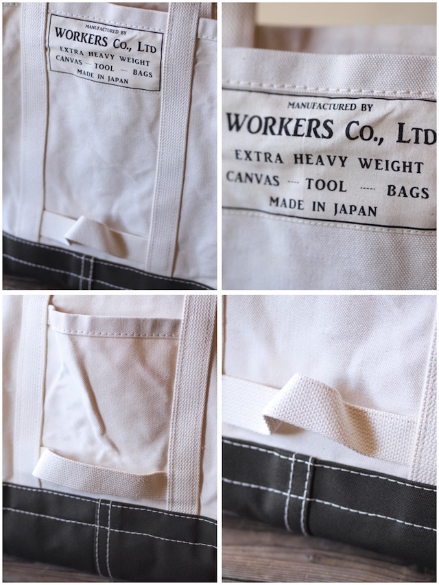 WORKERS Tool Bag 2-Tone Large Long Handle Ecru×Khaki-3