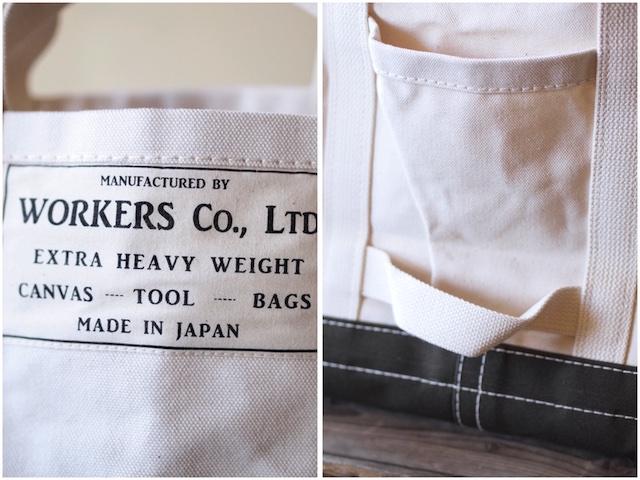WORKERS Tool Bag 2-Tone Large Short Handle Ecru×Khaki-3