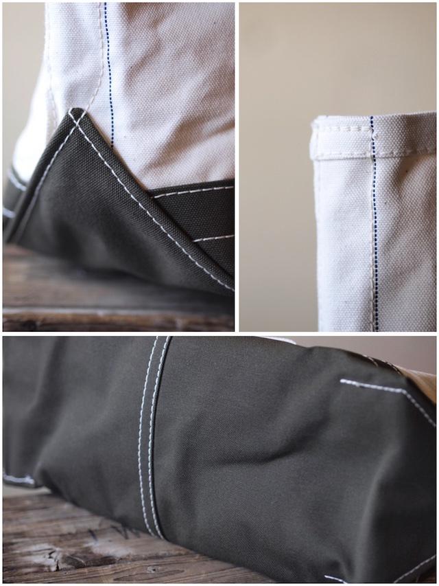 WORKERS Tool Bag 2-Tone Large Short Handle Ecru×Khaki-4