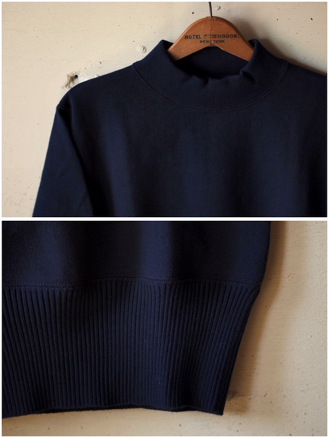 WORKERS USN Cotton Sweater Mock Neck Navy-5