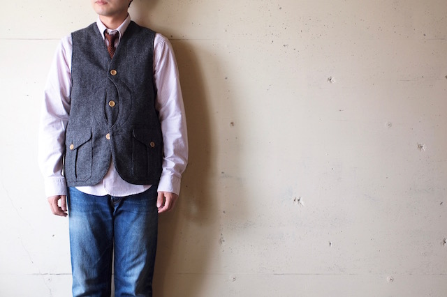 WORKERS Cruiser Vest Homespun Tweed Grey-2